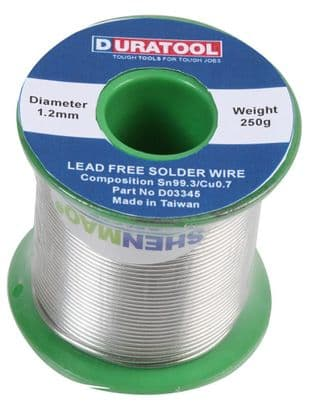 DURATOOL D03345  Solder Wire, Lead Free, 1.2Mm, 250G Reel